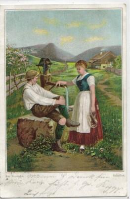 Schelles sign AM Brunnen Tracht Matterl Paar