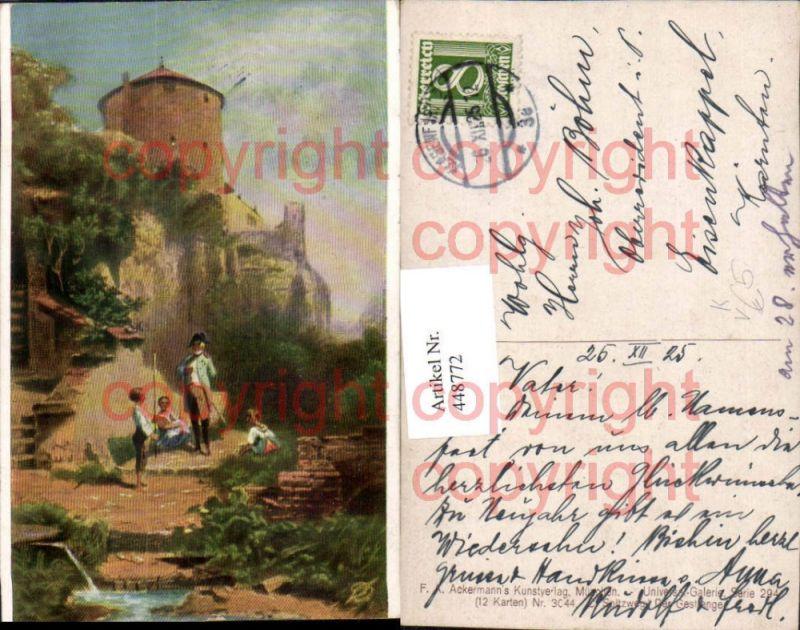 Künstler AK C. Spitzweg Mann m. Mütze Burg Festung Turm pub A. Ackermann