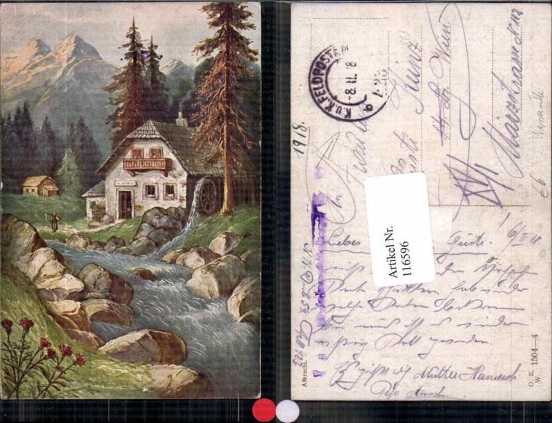 Künstlerkarte Künstler AK Wassermühle Wasserrad Mühle m. Berge Albrecht s