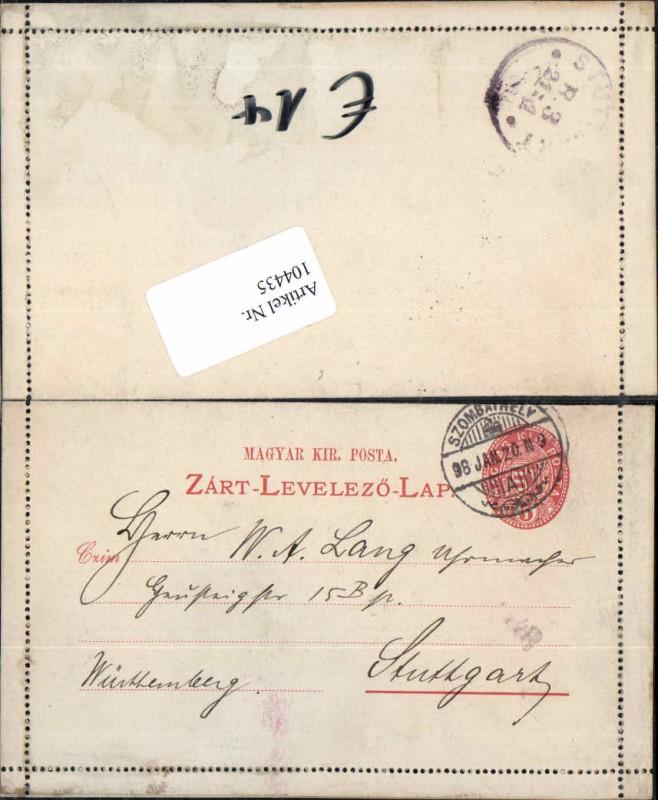 104435;Postkarte Szombathely n. Stuttgart 1920