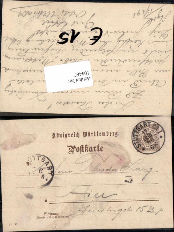 104467;Postkarte Stuttgart nach Hier 1896