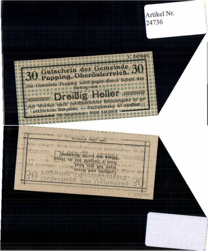 24736;Notgeld Pupping Eferding 30 Heller RR