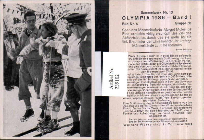 Sammelbild Olympia 1936 Gruppe 53 Bild 5 Margot Moles de Pina