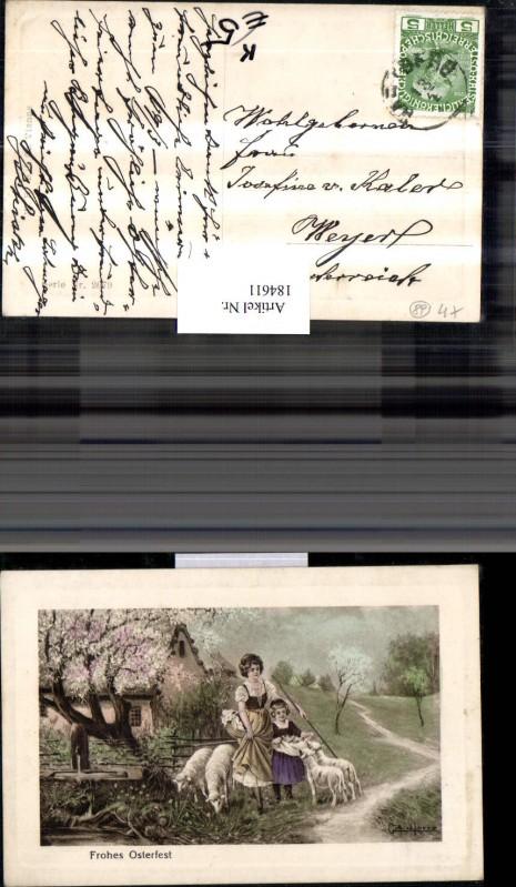 Ostern Künstler AK sign. Gottfried Lorenz Frau m. Kind Schafe Landschaft
