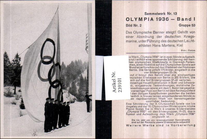 Sammelbild Olympia 1936 Gruppe 53 Bild 2 Olympischer Banner