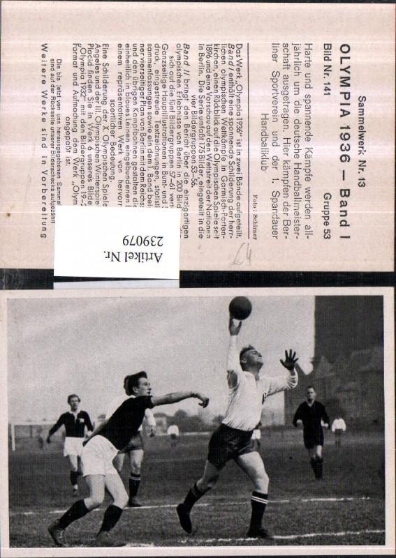 Sammelbild Olympia 1936 Gruppe 53 Bild 141 Handballmeisterschaft