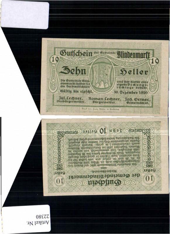 22380;Notgeld Blindenmarkt b. Amstetten 10 Heller grün