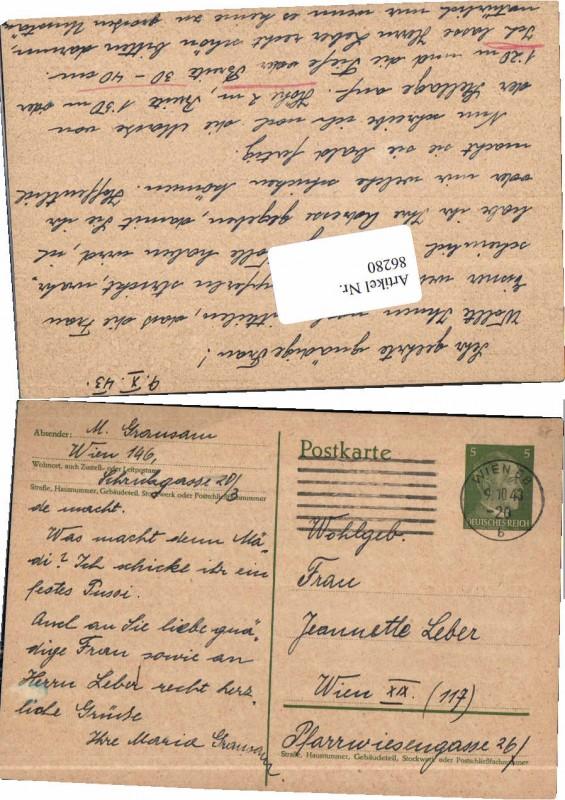 86280;Ganzsache Wien 68 1943