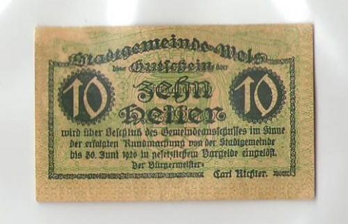 16808;Notgeld Wels 10 Heller