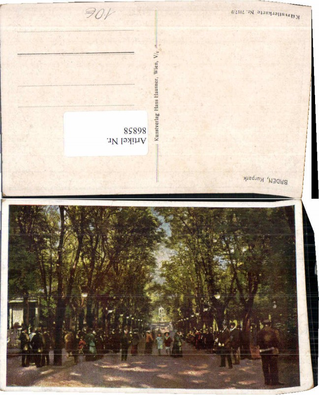 86858;Baden b. Wien Allee Künstlerkarte 7017-9