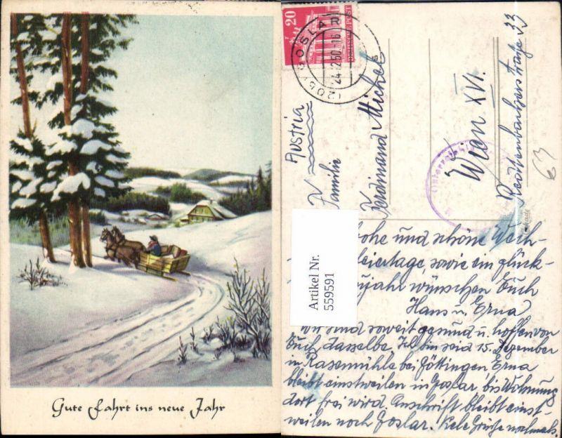 Neujahr Pferdeschlitten Schlitten Winterlandschaft Postbote