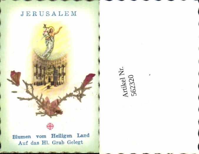 Heiligenbildchen Andachtsbild Jerusalem Blumen v. Heiligen Grab