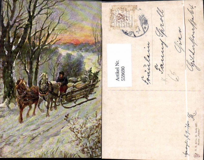 Künstler Ak Weihnachten Frau Pferdeschlitten Winterlandschaft
