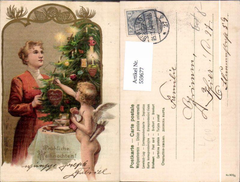 Litho Weihnachten Frau m. Engel Amor Weihnachtsbaum Kerzen Herz Liebe