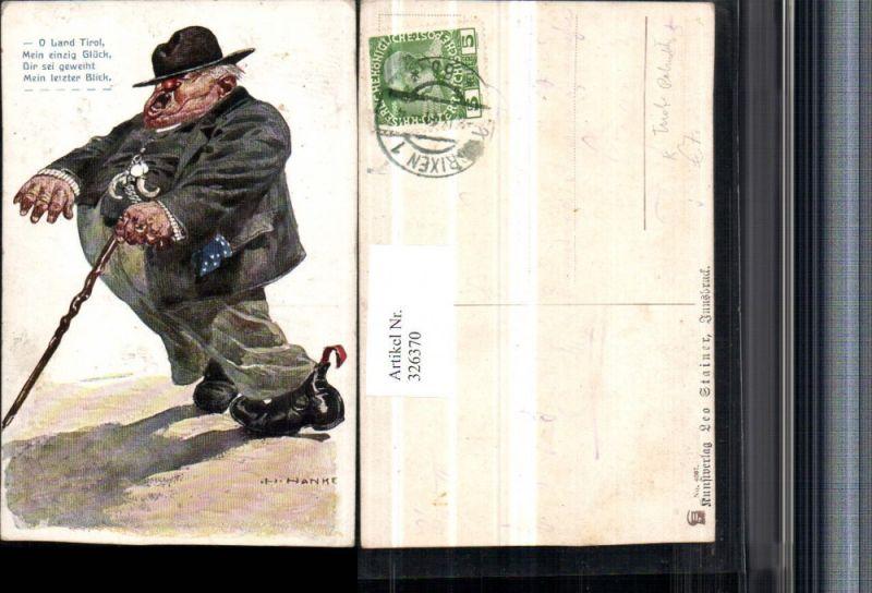 Künstler AK H. Hanke Tirol Patriotik Spruch Scherz Humor Betrunkener Mann