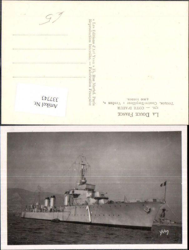 Foto Ak Schiff Kriegsschiff Marine Cote d Azur Toulon Contre Torpilleur V