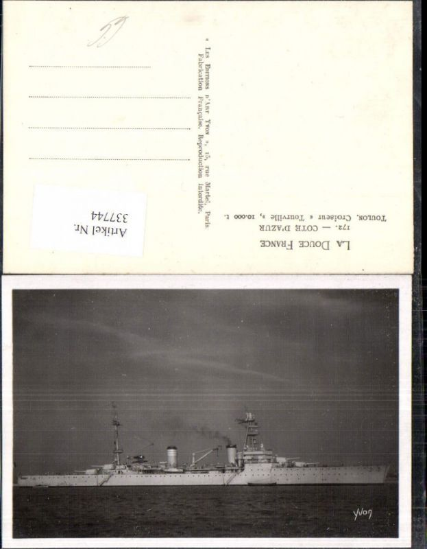 Foto Ak Schiff Kriegsschiff Marine Cote d Azur Toulon Croiseur Tourville