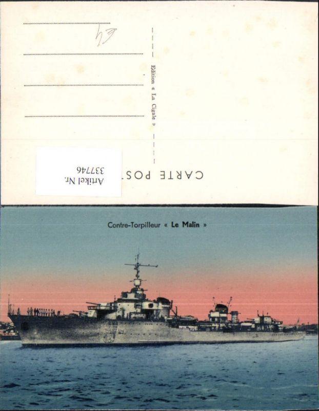 Schiff Kriegsschiff Marine Contre-Torpilleur Le Malin
