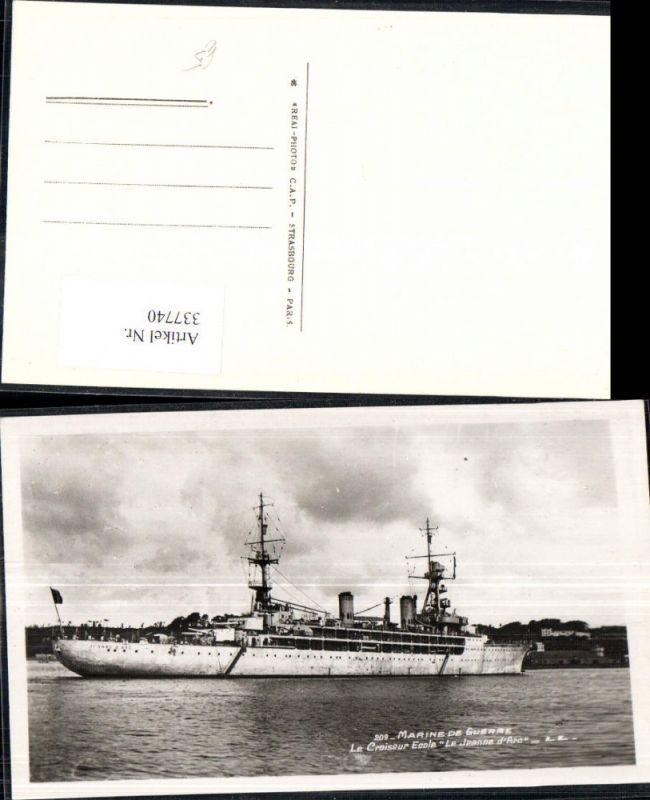 Foto Ak Schiff Kriegsschiff Marine de Guerre Le Croiseur Ecole Le Jeanne
