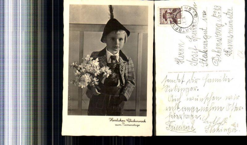Foto Ak Kind Bub Junge i. Tracht Tiroler Hut Blumenstrauß Margeriten Name