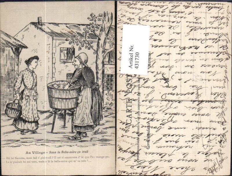 Künstler Ak Frauen Wäschewaschen Trog Au Village Sans la Belle-mere ca ir