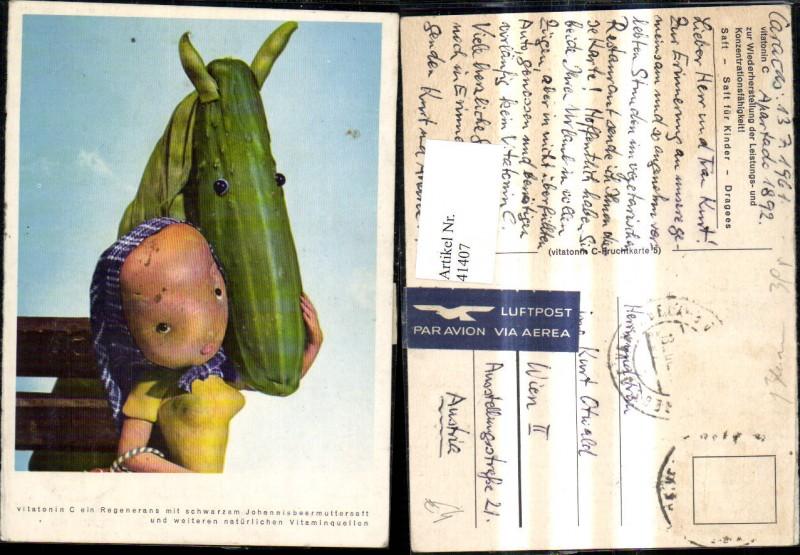 Mädchen u. Pferdekopf m. Obst u. Gemüse dargestellt Vitatonin C Saft