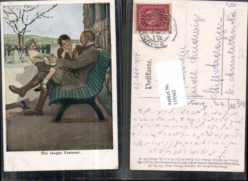 B. Wennerberg Karikatur Ser 7 Nr 4 Jüngste Leutnant Familie Kind Uniform