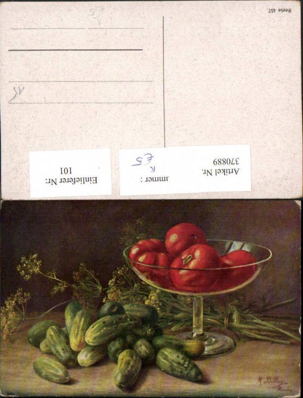 Künstler AK M. Billing Stillleben Gurken Tomaten Schale