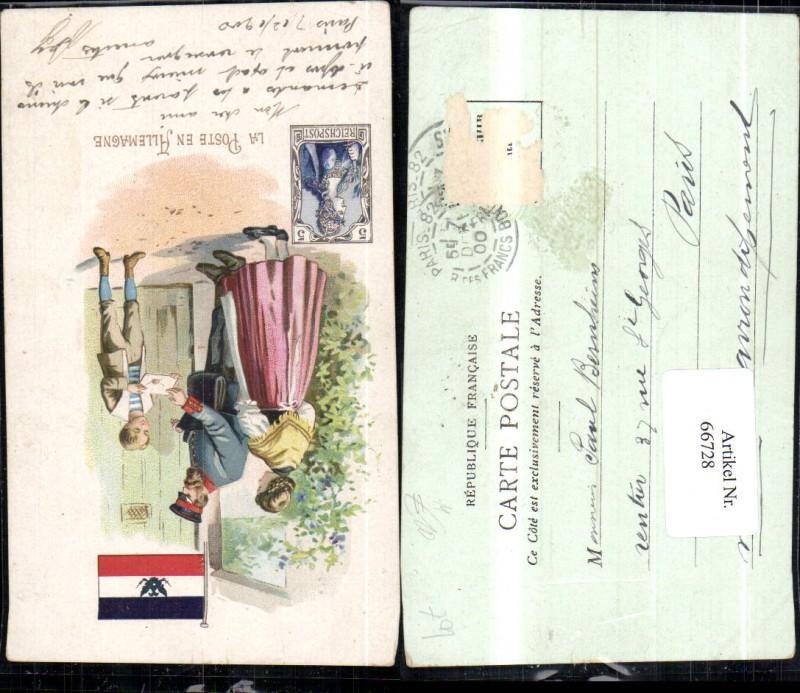 Litho La Poste en Allemagne Briefträger Deutsche Post 1900 Postwesen