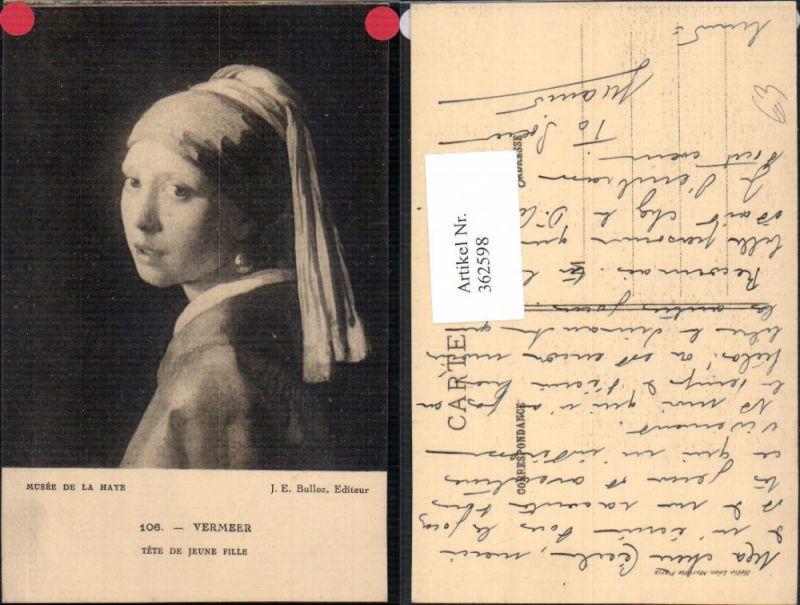 Künstler Ak J. E. Bulloz Vermeer Tete de jeune Fille Frau Portrait