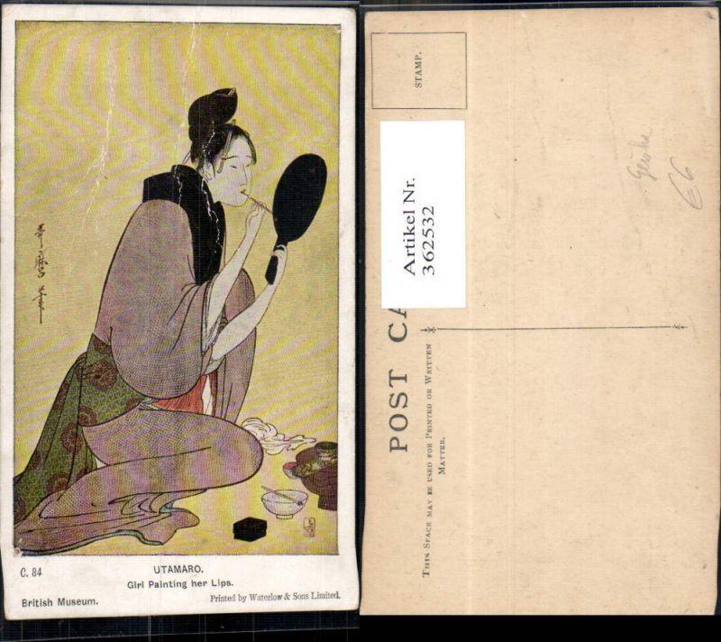 Künstler Ak Utamaro Girl Painting her lips Geisha Japan Volkstypen