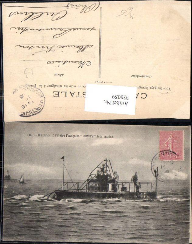 Künstler Ak U-Boot Bonite Sous-Marins Marino Militaire Francaise Segelboo