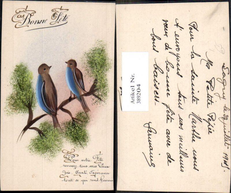 Künstler Ak Handgemalt Tiere Vögel auf Zweig