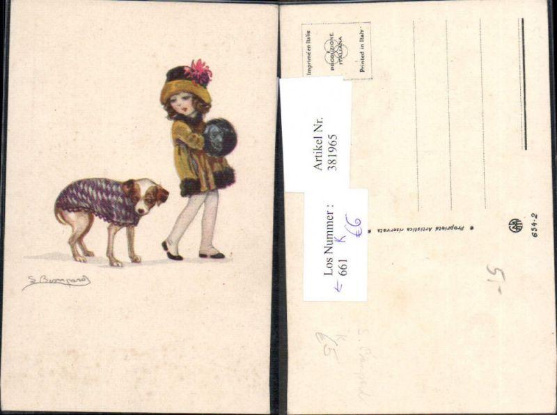 Künstler Ak Sergio Bompard Kind Mädchen Mode Hund m. Deko