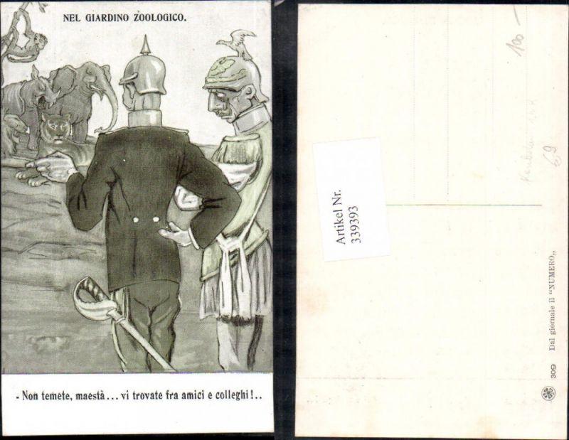 Künstler Ak Karikatur WW1 Soldaten Nel giardino zoologico Spruch