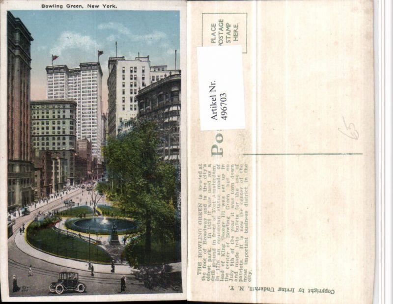 New York Bowling Green Park Brunnen Hochhäuser Nr. 496703 - oldthing ...