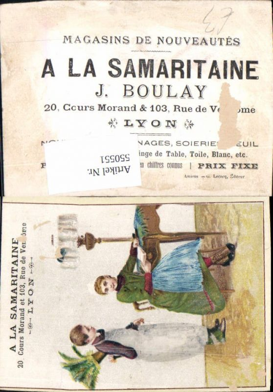Sammelbild A la Samaritaine lyon Lampe Frau Lesen