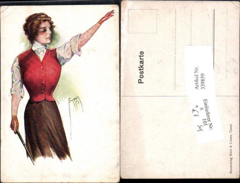 Künstler Ak K. Barber Sport Golfspielen Golf Frau m. Handschuhe Golfmode