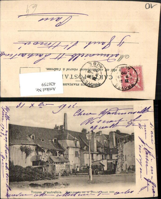 Champagne-Ardenne Aube Troyes autrefois Boulevard Häuser