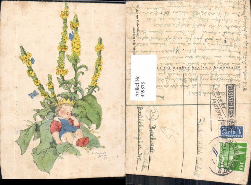 Künstler Ak Schlafendes Kind Krone Schmetterling Blume Blumen