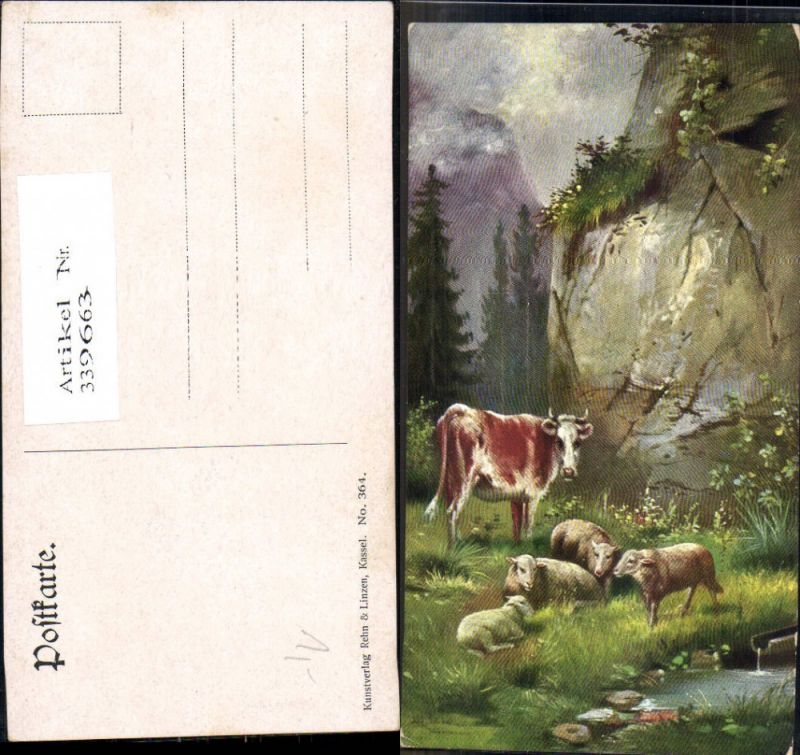 Künstler Ak Tiere Hornträger Rinderartige Kuh m. Schafe b. Brunnen Quelle