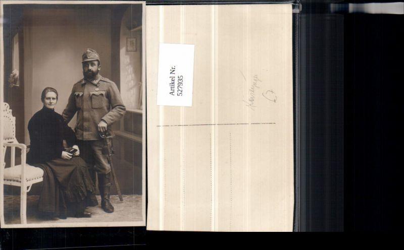 Foto-AK K.K. Armee Soldat Uniform Degen Orden Abzeichen Frau Gebirgsjäger