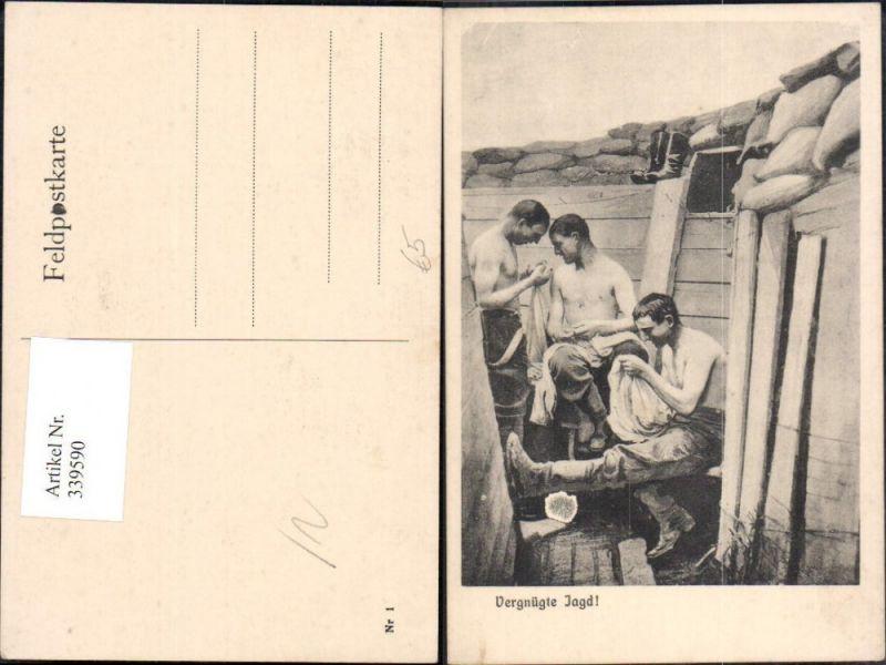 WW1 Soldatenleben Vergnügte Jagd Soldaten Kleidung Suche n. Läuse Ungezie