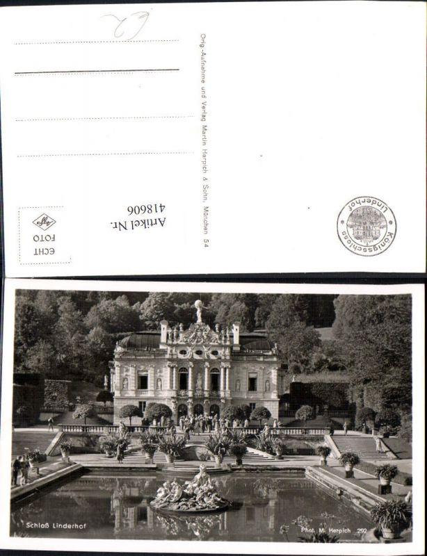 Foto Ak Schloss Linderhof m. Parkanlage Brunnen
