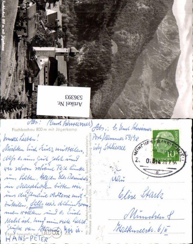 Bahnpost Zug 01314 20.7.1956 München Bayrischzell Fischbachau