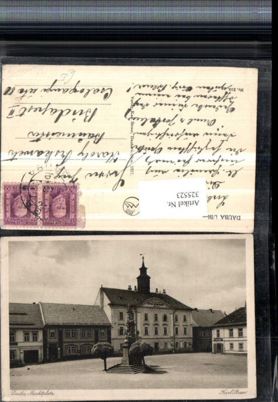 Dauba in Böhmen Duba Marktplatz Rathaus Denkmal