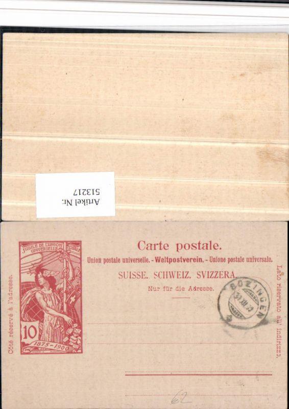 Ganzsache Stempel Bözingen 1900 Jubile Union Postale Universelle