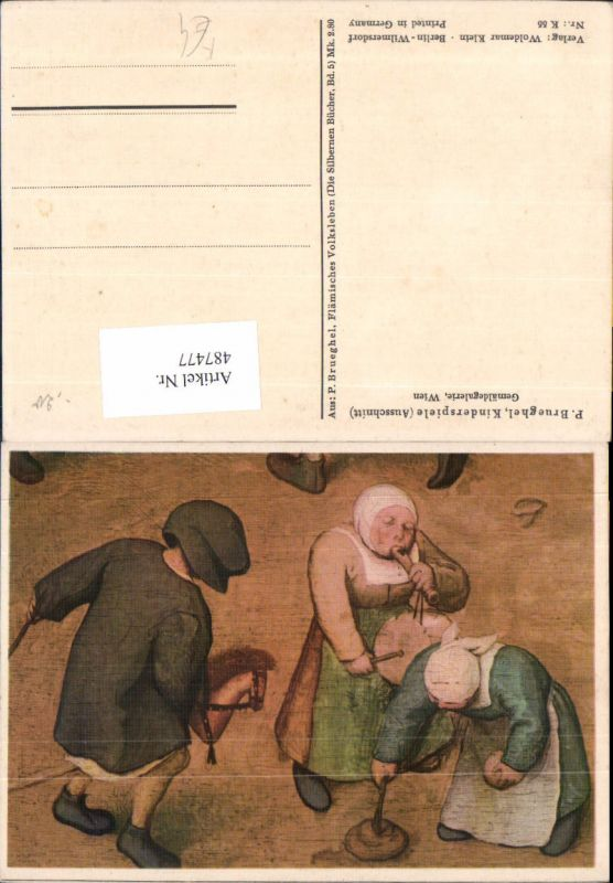 Künstler Ak P. Brueghel Kinderspiele Kinder Steckenpferd Flöte Spielzeug