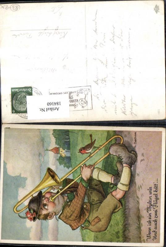 Scherz Humor Mann m. Trompete sitzt a. Wegrand m. Vogel Künstler Ak Fr. B