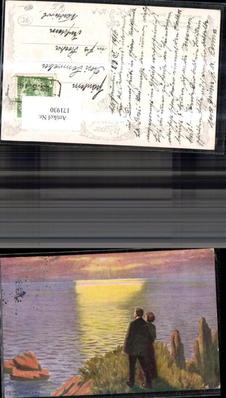 Künstler Ak Abendsonnenglanz Paar m. Sonnenuntergang sign E O. Braunthal